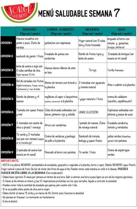 menu para adelgazar semana 7