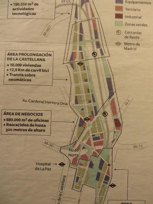 Proyecto Distrito Castellana Norte (BBVA y Constª san José), 2015, ordenación de los usos del suelo (naranja, terciario de oficinas; gris, residencial; lila, equipamientos)