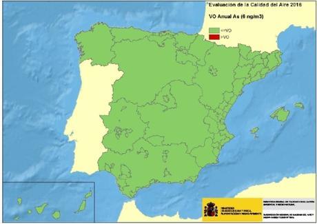 Calidad del Aire en España 2016: Evaluación de cumplimiento de Valor Objetivo de Arsénico