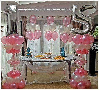 Cuatro imagenes con modernos adornos con globos para 15 for Decoraciones para 15 anos modernas