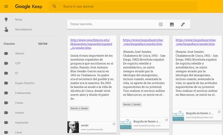 Google Keep como herramienta de investigación web