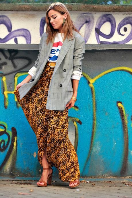 sudadera con blazer de cuadros xxl y falda larga