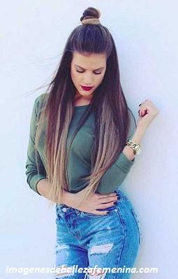 peinados faciles para cabello largo recogido moño