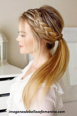 peinados faciles para cabello largo recogido cola