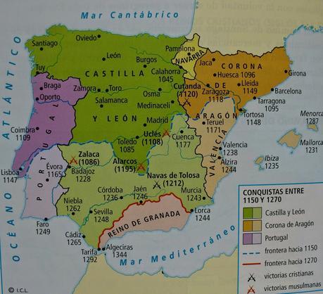 EJEMPLO DE COMENTARIO DE UN MAPA HISTÓRICO, EL AVANCE DE LA RECONQUISTA EN LA PENÍNSULA IBÉRICA DURANTE LOS SIGLOS XII Y XIII, HISTORIA DE ESPAÑA 2º BACHILLERATO