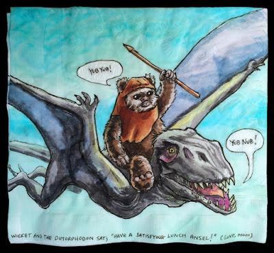 Personajes de Star Wars a lomos de dinosaurios en las servilletas de Nina Levy