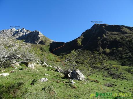Ruta al Cornón por el Valle los Cereizales: Bajada por la Canal de Fontarente