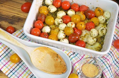 tomates cherry y perlas de mozzarella, guarnición, guarnición para carne y pescado, guarniciones, recetas de guarnición, como hacer una guarnición, como se hace una guarnición, cenas rápidas y fáciles, las delicias de mayte,
