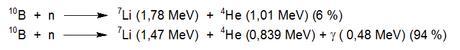 Reacción 10B con neutrones