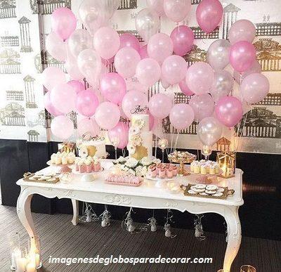adornos de globos para quince años pared