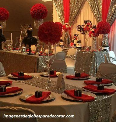 decoracion elegante para 15 años rojo