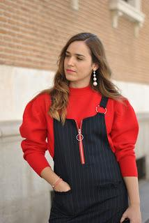 Blue dress & oversize red sweater