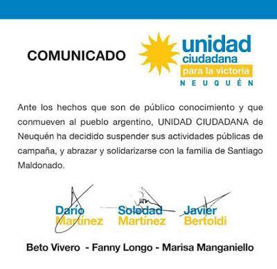 Comunicado de Unidad Ciudadana sobre la suspensión  de campaña
