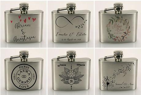Petacas personalizadas para bodas con el logo de los novios