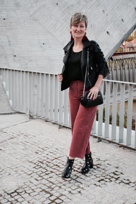 pantalón culotte pana rosa