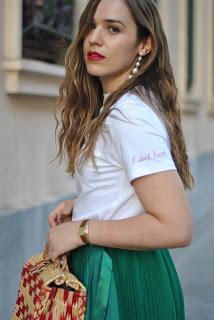 The green pleated skirt