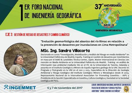 MSc. Sandra Villacorta expone en  el I Foro Nacional de Ingenieria Geográfica - UNMSM