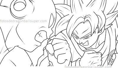 Goku en 4 dibujos para pintar de dragon ball super sin color