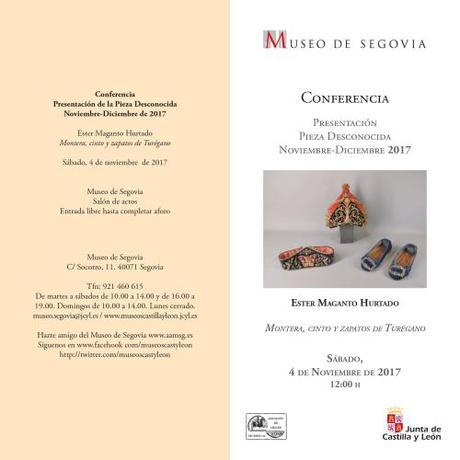 Conferencia, 4 de Noviembre:  Montera, cinto y zapatos de Turégano