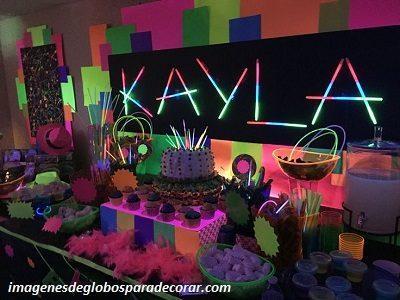 decoracion para xv años tematicos neon