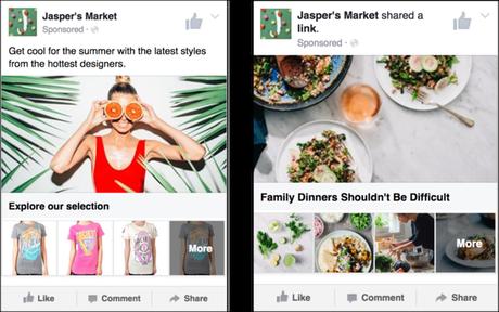 Ejemplo de anuncio de colección en Facebook Ads. Anuncio de Jasper's Market