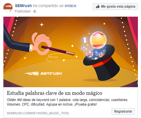 Ejemplo de anuncio con foto en Facebook Ads. Publicidad de Semrush