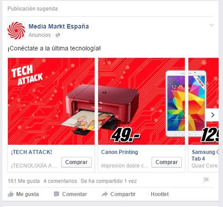 Ejemplo de anuncio con carrusel de imágenes en Facebook Ads. Anuncio de Media Markt