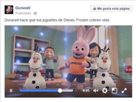 Ejemplo de anuncio con vídeo en Facebook Ads. Anuncio de Duracell