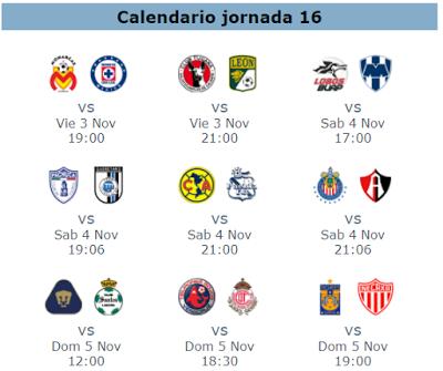 La guía de la jornada 16 del futbol mexicano