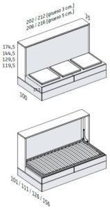 BANQUETA CON 2 CAJONES Y SOMIER DE ARRASTRE. (Estructura de 35 cm Fondo)