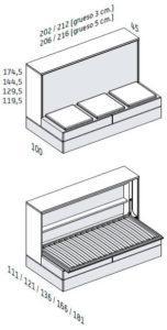 BANQUETA CON 4 CAJONES o SOMIER DE ARRASTRE (Versión con estructura de 45 cm de Fondo)