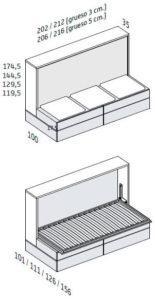 BANQUETA CON 4 CAJONES (Estructura de 35 cm Fondo)