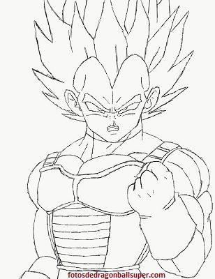 dibujos para colorear de dragon ball z de vegeta pintar