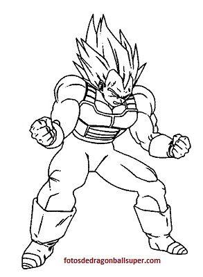 dibujos para colorear de dragon ball z de vegeta super
