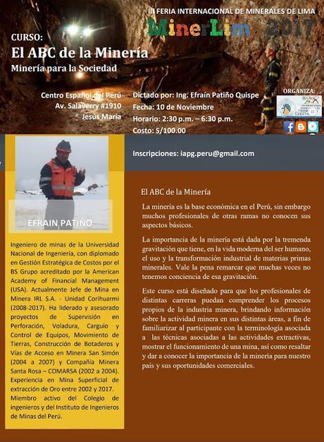 Cursos #MinerLima2017 MINERÍA PARA LA SOCIEDAD
