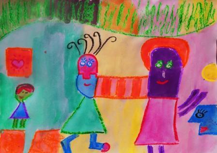 Pintando las formas de las obras de  Milo Lockett