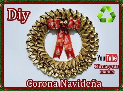 Diy. Corona Navideña Reciclando Tubos de Papel Higienico