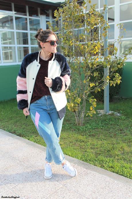 Abrigo de pelo de colores + sweater chenilla