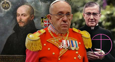 papa Francisco con el papa negro y san Ignacio de Loyola