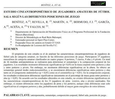 Artículo de investigación: ESTUDIO CINEANTROPOMÉTRICO DE JUGADORES AMATEURS DE FÚTBOL SALA SEGÚN LAS DIFERENTES POSICIONES DE JUEGO