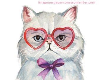 imagenes de gato con lentes dibujo