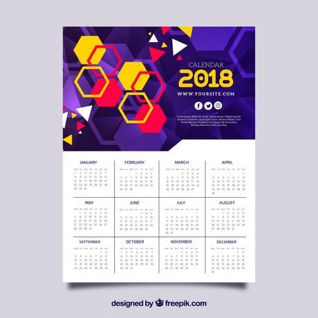 calendarios 2018 gratis color morado para imprimir