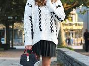 Outfit otoño falda cuero plisada