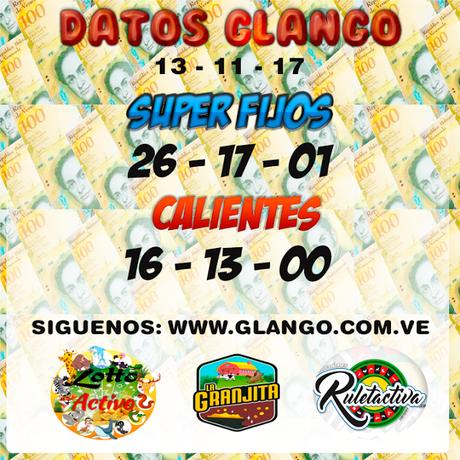Datos Fijos Para La #Lottoactivo #Ruletaactiva #Lagranjita Lunes 13/11/17