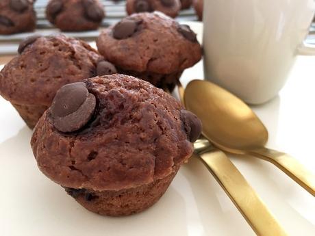 recetas delikatissen postres rápidos postres fáciles muffins pepitas chocolate muffins chocolate muffins caseras muffins cacao magdalenas pequeñas Chocolate chip mini muffins