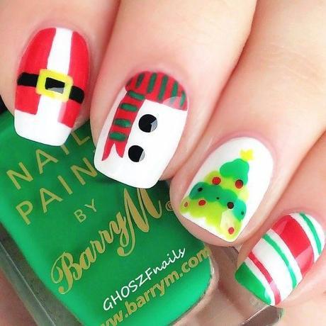 Modelos de decoraciòn de uñas para Navidad 2017