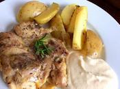 Pollo horno patatas mayonesa membrillo, manzana