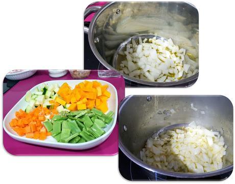 Sopa de verduras con pasta y bacon ahumado
