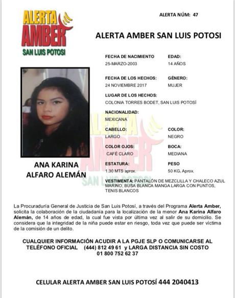 Activan alerta Amber para localizar a jovencita de 14 años