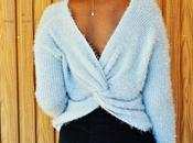 Fuzzy twisted back sweater